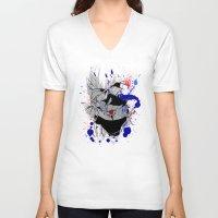 kakashi V-neck T-shirts featuring Kakashi Eye by feimyconcepts05