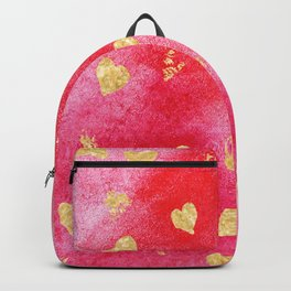 Red And Gold Watercolor Hearts Textures And Patterns Backpack