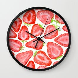 Watercolor strawberry slices pattern Wall Clock