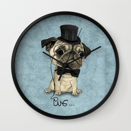 Pug; Gentle Pug (v3) Wall Clock