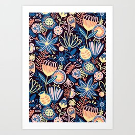 Dark Floral Art Print