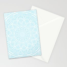 Light Sky Blue Aqua Simple Simplistic Mandala Design Ethnic Tribal Pattern Stationery Cards