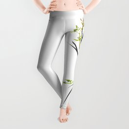 Green Wild Orchid Two Leggings