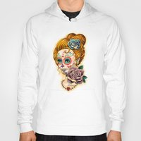 fitzgerald Hoodies featuring Dia de los Muertos Roses by Cathy FitzGerald