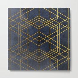 Golden Geometric Pattern Metal Print