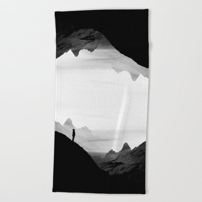black wasteland isolation Beach Towel