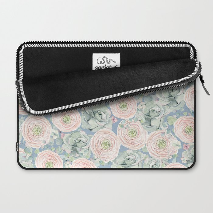 Flowers And Succulents Light Blue Laptop Sleeve