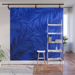 Palm Tree Fronds Brilliant Blue on Blue Hawaii Tropical Décor Wall Mural