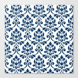 Feuille Damask Pattern Dark Blue on White Canvas Print