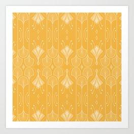 Lily Lake - Retro Floral Pattern Curry Art Print