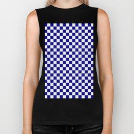 Small Checkered - White and Dark Blue Biker Tank