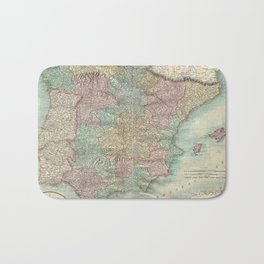 Vintage Map of Spain and Portugal (1801) Bath Mat