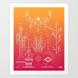 Santa Fe Garden – Orange Sunset Art Print
