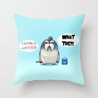 yeti Throw Pillows featuring Yeti by Mr Meowmer