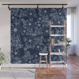 Artistic hand painted navy blue white modern floral Wall Mural