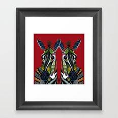 zebra love red Framed Art Print