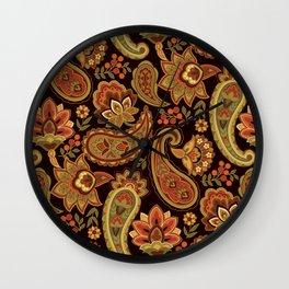 Autumn Paisley Wall Clock