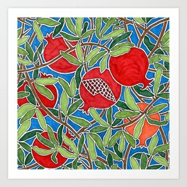 Pomegranate Branches and Fruit Art Print