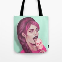 tooth Tote Bags featuring Sweet Tooth by Wendy Stephens