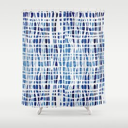 shibori braid vivid indigo blue and white shower curtain