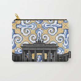 Berlin Meets Spanish Tiles Montage - Azulejo Blue and Yellow Geometric Design Carry-All Pouch