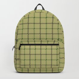Fern Green & Sludge Grey Tattersall on Wheat Beige Background Backpack