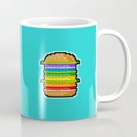 hamburger Mugs featuring Pixel Hamburger by Sombras Blancas Art & Design