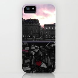 Paris pastel sunset love locks black and white with color iPhone Case