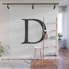 Letter D Initial Monogram Black and White Wall Mural