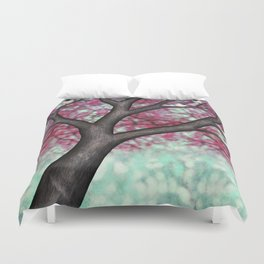 black capped chickadees and spring bokeh Duvet Cover
