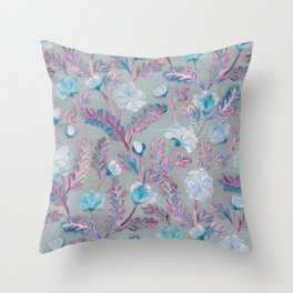 Soft Smudgy Blue and Purple Floral Pattern Throw Pillow