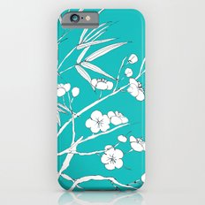 bamboo and plum flower white on blue Slim Case iPhone 6s