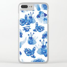 Summer history of watercolor in blue tones Clear iPhone Case