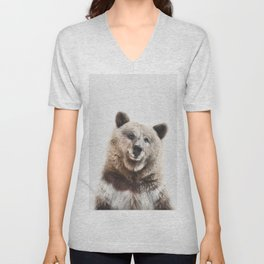 Brown Bear Print Unisex V-Neck