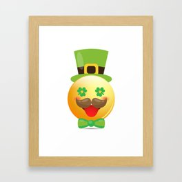 Emoji Mustache Funny St Patricks Day Girls Boys Framed Art Print