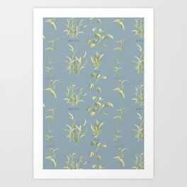 Rosemary, Sage, and Nettle. In Blue Art Print