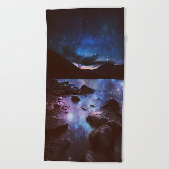 Magical Mountain Lake Deep Cool Tone Beach Towel