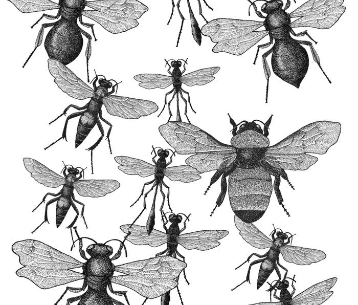 Bees and wasp Flying Metal Travel Mug