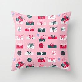 Giftmas - Pink Throw Pillow