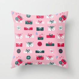 Giftmas - Pink Throw Pillow
