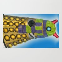 dalek Area & Throw Rugs featuring Snuggly Dalek by Madam Doodle