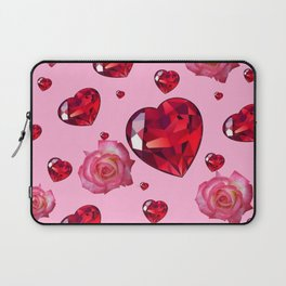 PINK  ART RAINING ROSES RUBY RED VALENTINES HEARTS Laptop Sleeve
