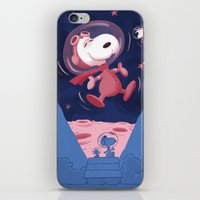 snoopy iPhone & iPod Skins featuring Snoopy on the moon by Enrique Guillamon