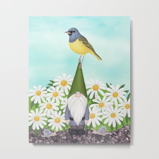 gnome with MacGilivray's warbler and daisies Metal Print