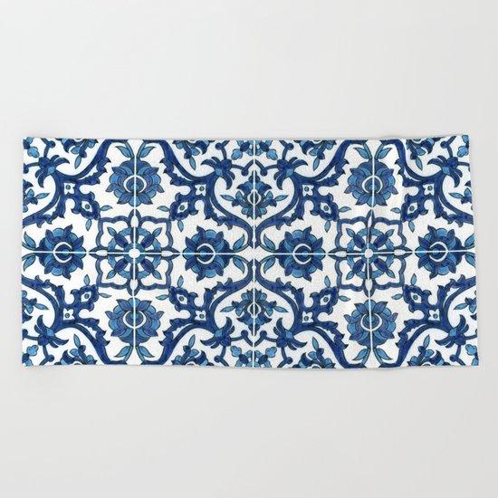 Blue Tile Beach Towel