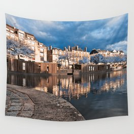 Nantes Riverside Scenery - Winter Blue Fantasy Wall Tapestry