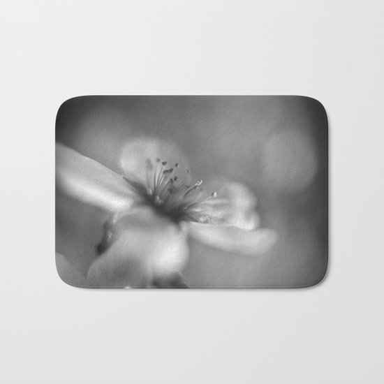 White flowers. Mono Bath Mat
