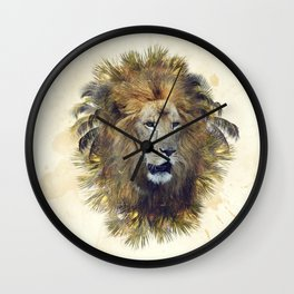 Double exposure effect of lion head and palm trees Wall Clock