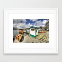 rowing Framed Art Prints featuring Rowing Boats at Ambleside  by Rob Hawkins Photography