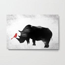 Rhino with bird Metal Print